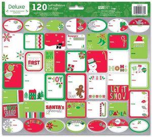 Paper Craft Deluxe Holiday Self Adhesive Gift Labels - 120 Count - Contemporary
