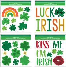 "Load image into Gallery viewer, B-THERE Bundle of St. Patrick's Day Window Gel Clings 11.5"" x 12"" with Shamrocks, Clovers, Kiss Me I'm Irish, Luck Gels"