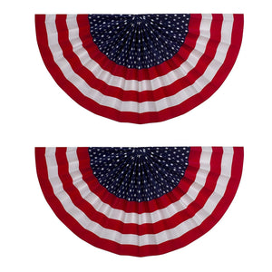 "B-THERE Bundle of 2 USA July 4 Decorations Fan Drape Bunting Flock, 18"" x 36"" Stars & Stripes"
