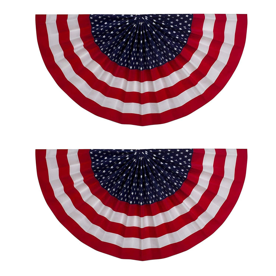 B-THERE Bundle of 2 USA July 4 Decorations Fan Drape Bunting Flock, 18