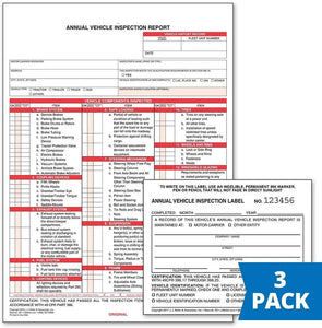 Annual Vehicle Inspection Report (Carbonless) + Label - Retail Packaging (#400MP) (Qty: 3 Units)
