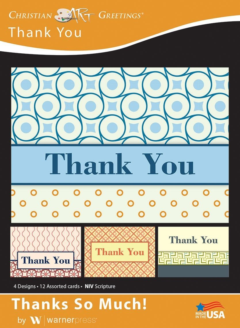 Thanks So Much! - Thank You Greeting Cards - Blank - NIV Scripture - (Box of 12)