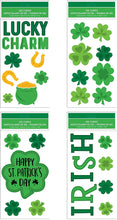"Load image into Gallery viewer, B-THERE Bundle of St. Patrick's Day Window Gel Clings 5.5"" x 12"" with Shamrocks, Clovers, Lucky Charm, Irish, Pot of Gold Gels."