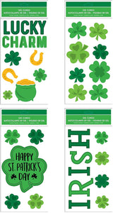 "B-THERE Bundle of St. Patrick's Day Window Gel Clings 5.5"" x 12"" with Shamrocks, Clovers, Lucky Charm, Irish, Pot of Gold Gels."