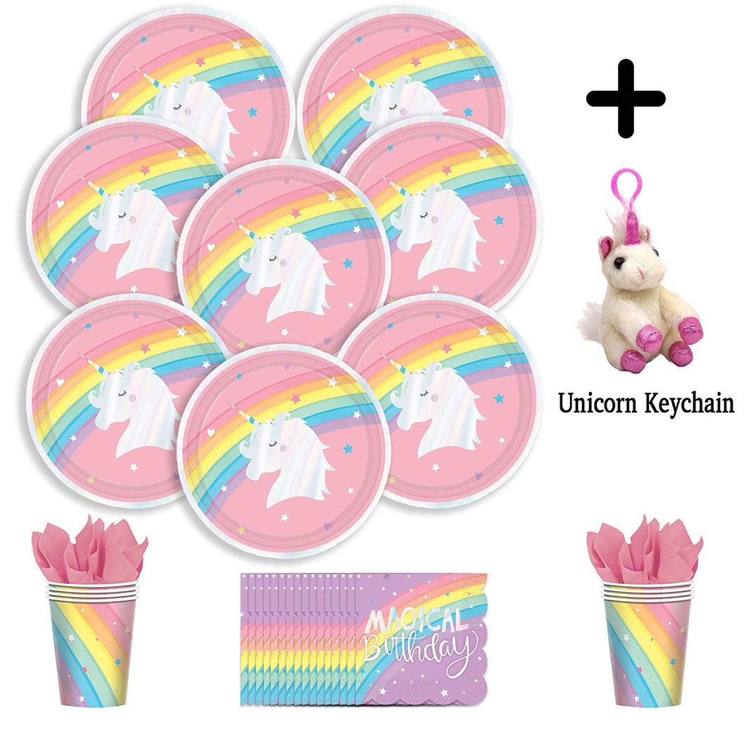 B-THERE Unicorn Birthday Party Pack Bundle - Girls Magical Rainbow Unicorn Birthday Set, Seats 8: Plates,...