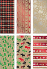 Load image into Gallery viewer, Bundle of 6 Rolls of Christmas Gift Wrapping Paper, Kraft - Cozy Cabin - 90 Total Sq Ft of Xmas Wrap