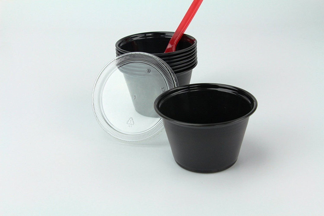 Disposable 4oz Plastic Condiment Cups with Lids, Sample Cup, Jello Shot Cups, Salad Dressing, Souffle Portion, Sampling (100, Black)