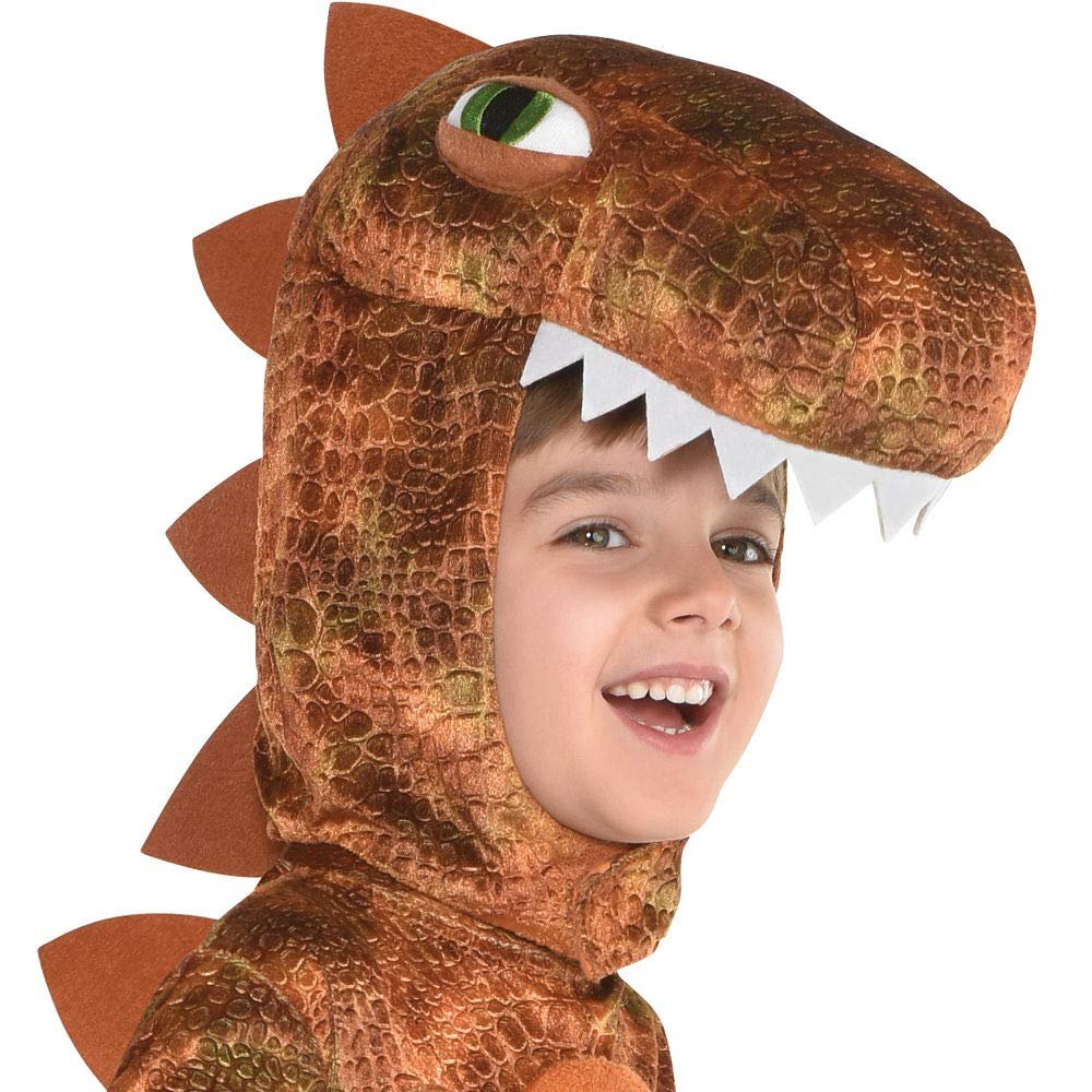 T-Rex Jumpsuit Halloween Costume for Kids, Small, with Attached Hood, by Amscan