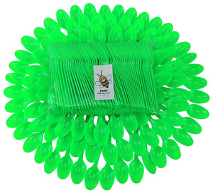 B-Kind Party Pack 100 Count Cutlery Thick Strong and Durable Heavy Weight Disposable Bright green Spoons for Camping, Picnics, Parties & Weddings
