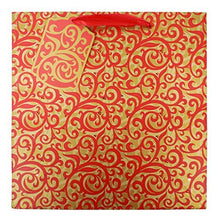 Load image into Gallery viewer, The Gift Wrap Company 6 Count Square Gift Bags, Medium, Red Scrolls