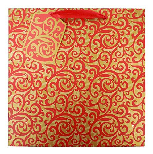 The Gift Wrap Company 6 Count Square Gift Bags, Medium, Red Scrolls