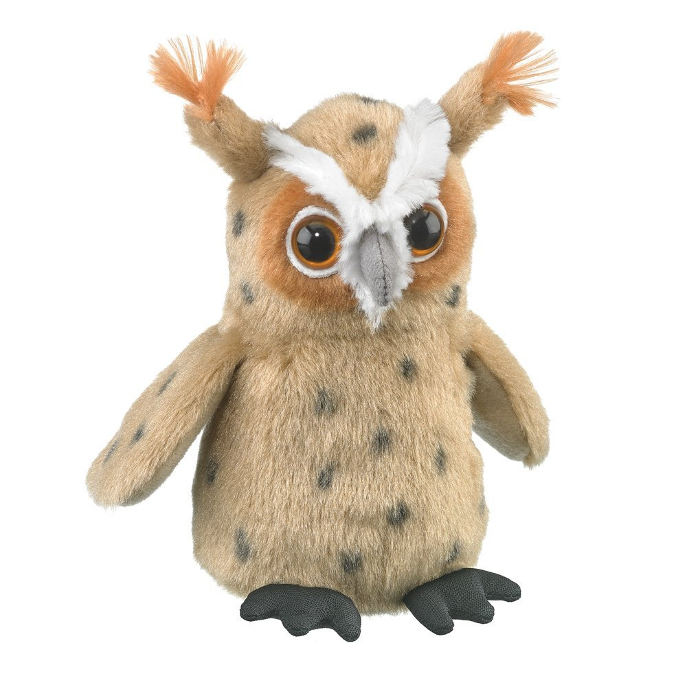 Wildlife Artists Great Horned Owl Plush Finger Puppet Toy, 5.5