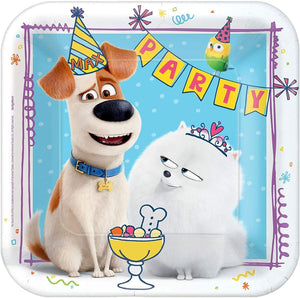 "amscan 551863""The Secret Life Of Pets 2"" Blue Square Party Paper Plates 
