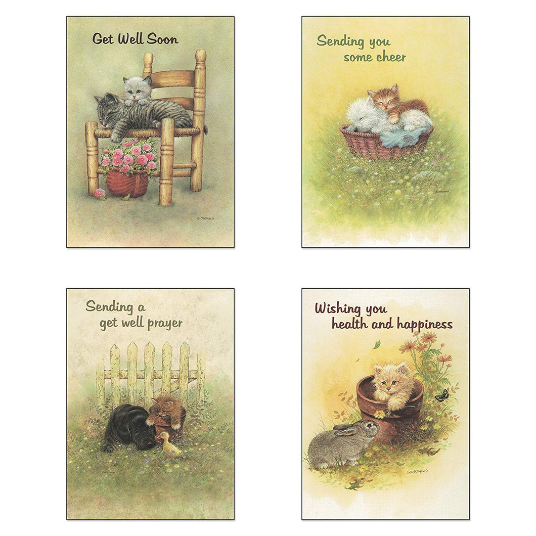 Pack of 12 Religious Boxed Enclosure Cards - Fuzzy Friends - Children's Get Well Card Pack, Envelopes Included