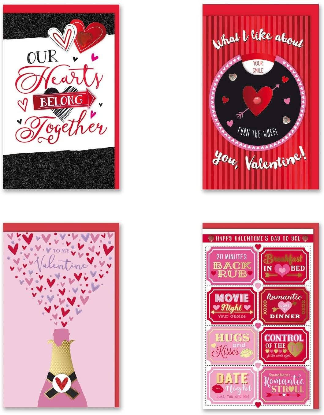 B-THERE Bundle of 4 Valentine's Day Handmade Cards – Large. Envelopes Included