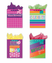 Load image into Gallery viewer, 4 Large Party Gift Bags, Birthday Gift Bags - Set of 4 Happy Birthday Gift Bags w/Tags & Tissue Paper