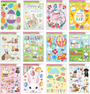 "B-THERE Bundle of Spring Easter Window Cling Decorations 12"" x 17"", Eggs, Basket, Bunny, Dogs, Cats, Rabbits, Spring, Butterflies and More"