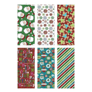 Bundle of 6 Rolls of Christmas Gift Wrapping Paper - Winter Magic - 210 Total Sq Ft of Xmas Wrap