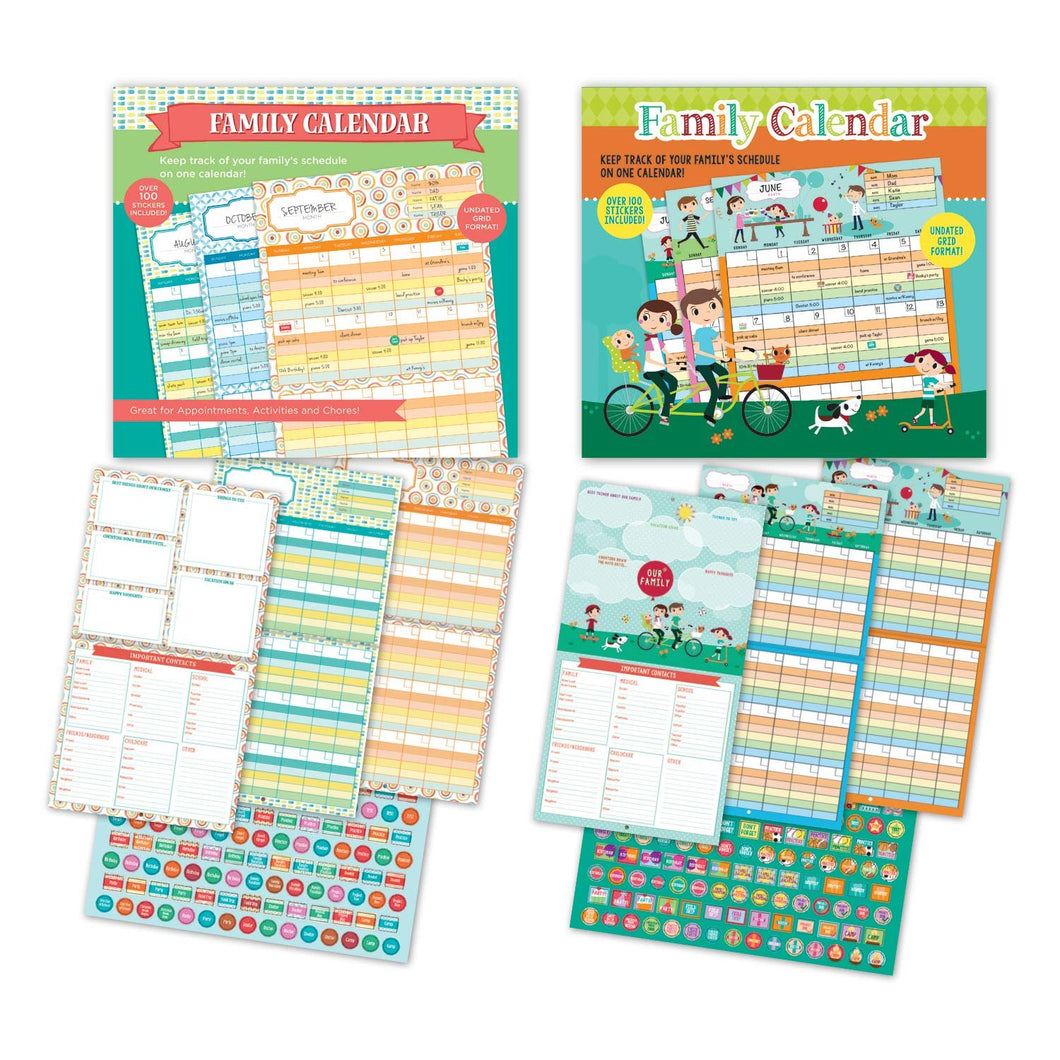B-THERE Bundle of 2 Monthly Undated Family Wall Calendars