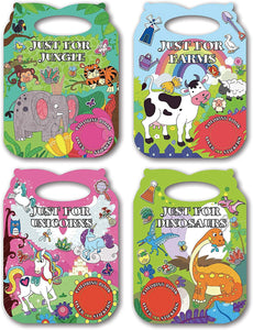 B-THERE 4-Pack Carry Along Die-Cut Sticker Coloring Books for Kids 4-12 Pack.