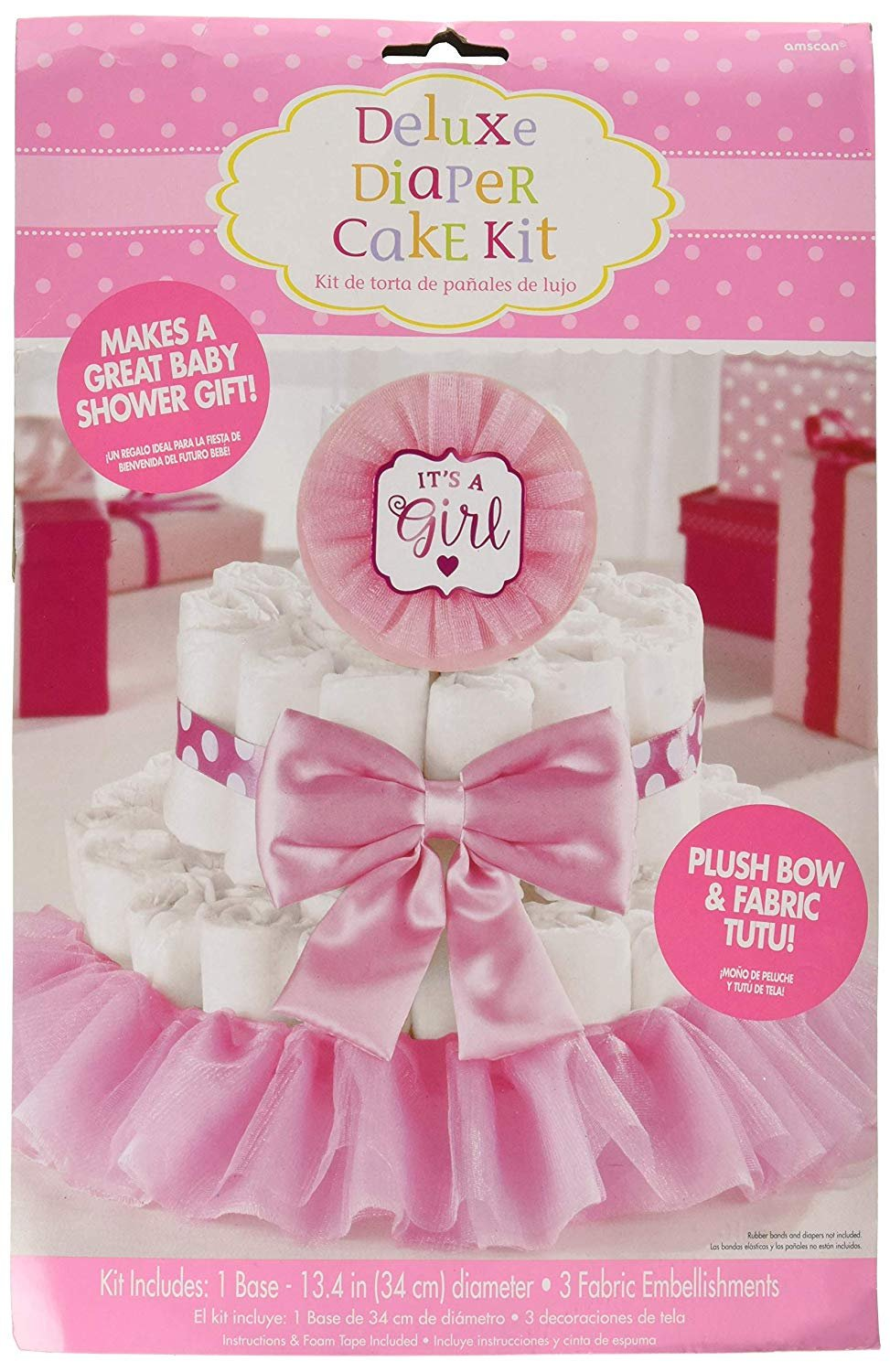 Amscan - It's a Girl Pink Baby Shower Diaper Cake Decorating Kit