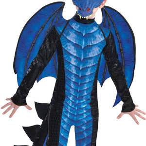 Amscan Black and Blue Dragon Halloween Costume for Boys, Includes Jumpsuit, Mask, Tail and Wings