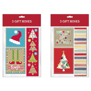 B-THERE Bundle of 6 Contemporary Christmas Gift Holder Box for Small Gifts or Gift Cards