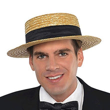 "Load image into Gallery viewer, Roaring '20s Costume Party Skimmer Hat, Black/Brown, Straw, 11"" x 11 1/2"" x 4"", 1-Piece"