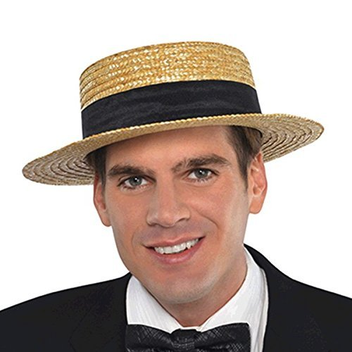 Roaring '20s Costume Party Skimmer Hat, Black/Brown, Straw, 11
