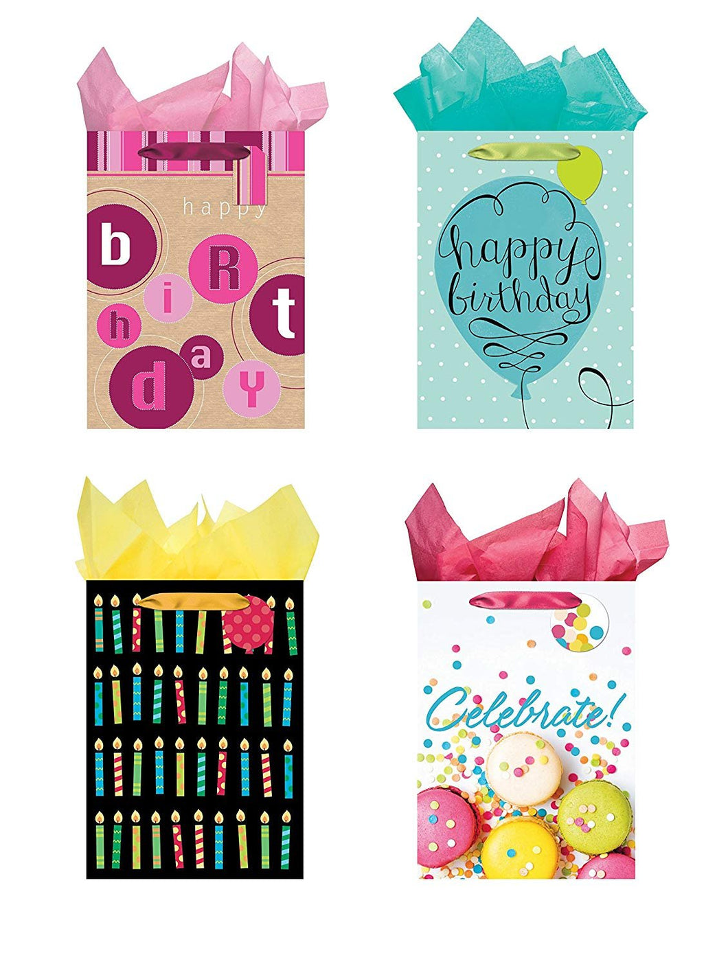 All Occasion Party Gift Bags - Set of 4 Jumbo Birthday Gift Bags w/Tags & Tissue Paper