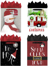 Load image into Gallery viewer, B-THERE Bundle of 4 Large Christmas Gift Bags Xmas Giftbags - Contemperary Whimsy Santa, Home, Snowman Designs w/Foil & Glitter Finishes on Each Bag! Tissue Paper Included!