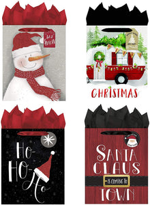 B-THERE Bundle of 4 Large Christmas Gift Bags Xmas Giftbags - Contemperary Whimsy Santa, Home, Snowman Designs w/Foil & Glitter Finishes on Each Bag! Tissue Paper Included!