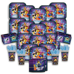 Party Pack Bundle - The Lego Movie 2 Bundle Seats 16: Napkins, Plates, Cups and Stickers -...