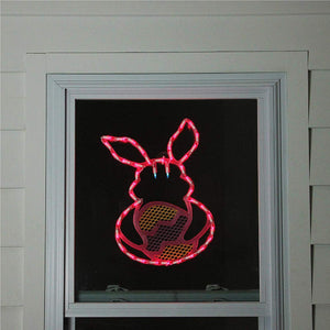 Impact Innovations Lighted Window Decoration, Pink and Green Easter Bunny