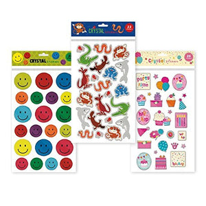 B-THERE Set of 3 Large Crystal Sticker Sheets, 69 Stickers Total. Smileys, Animals, and Cupcake Themed Crystal Stickers