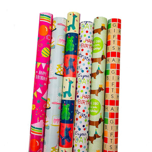 B-THERE Birthday Gift Wrap Wrapping Paper for Boys, Girls, Adults. 6 Cute & Funny Different Designs of 6 ft X 30 Roll! Includes Cake, Dogs, Balloon Animals, Dots, Happy Birthday