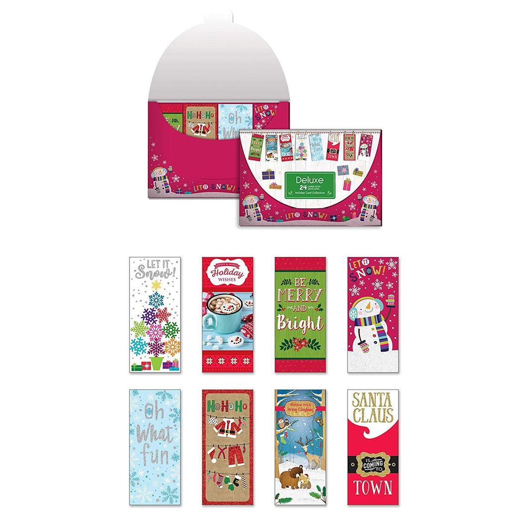 Pack of 24 Holiday Cards Tall, Contemporary/Whimsical Christmas Enclosure Cards with Envelopes
