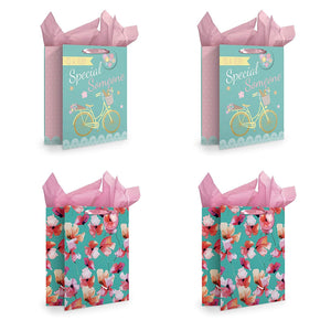 B-THERE 4-Pack Large Gift Bags w/Tissue Paper for Mother's Day, Birthday, Special Someone, Thank You, Thinking of You