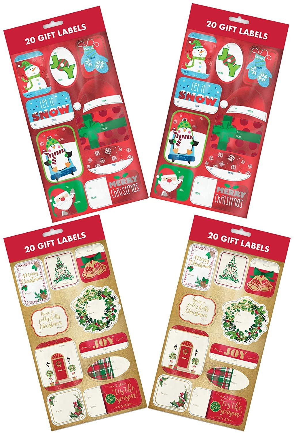 B-THERE Bundle 80ct Foil Christmas Holiday Self- Adhesive Gift Tag Labels of Penguins, Snowman, Santa, Mittens, Wreath, Front Door