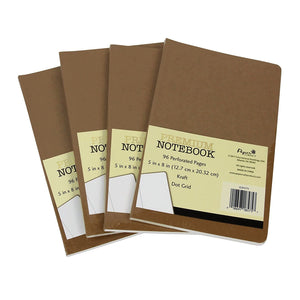 B-THERE Premium Journal - Dot Grid Pages, Kraft Cover 5in x 8in. 96 Preforated Pages w/Dotted Grid (4 Notebooks)