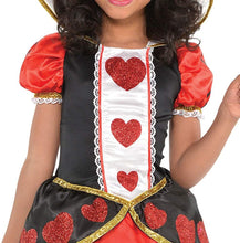 Load image into Gallery viewer, Costumes USA Queen of Hearts Costume for Girls, Size Medium, Includes a Red and Black Dress, Crown Headband, and Tights