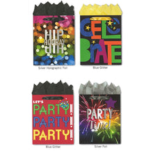 Load image into Gallery viewer, Pack of 4 Large Party Gift Bags. Assortment of Foil and Glitter Embellishments Birthday, Graduation, Any Celebration