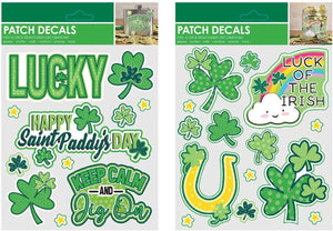 "B-THERE Bundle of St. Patrick's Day Embossed 3D Patch Decals 5.5"" x 7"" with Shamrocks, Clovers, Lucky, Luck of The Irish, Rainbow, Horseshoe Stickers."
