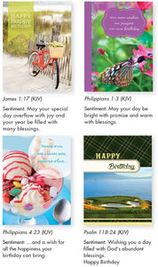 Pack of 12 Religious Birthday Cards, Boxed Enclosure Cards 4 Designs with Envelopes. Includes KJV Scripture on Each Card