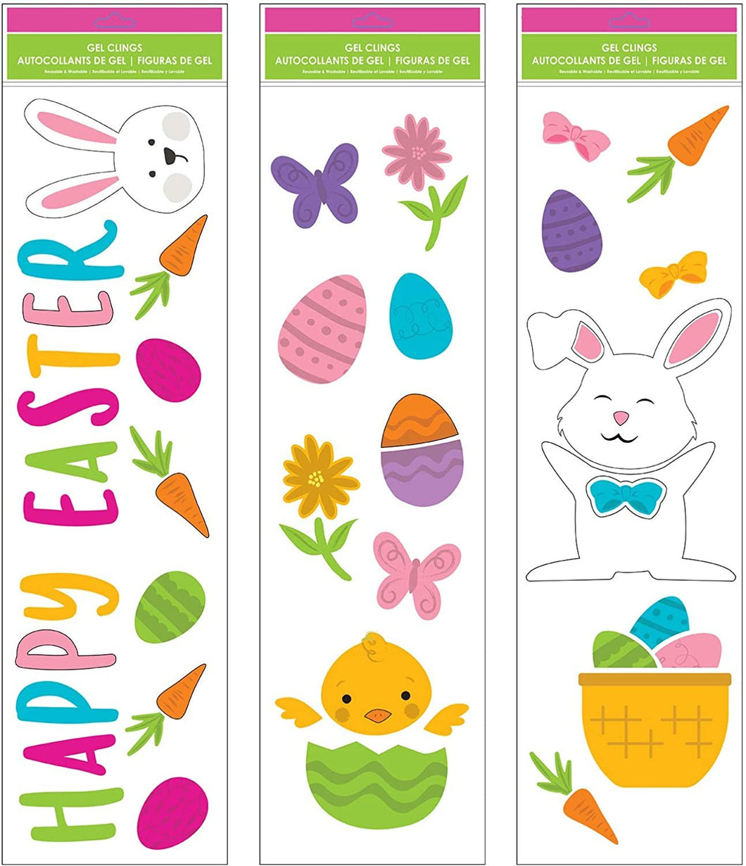 Easter Window Gel Clings - Pack of 3 Sheets of Easter Window Sticker Decorations with Chick, Bunnies, Eggs and More!