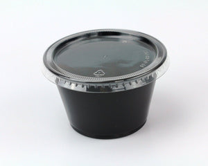 Disposable 4oz Plastic Condiment Cups with Lids, Souffle Portion, Jello Shot Cups, Salad Dressing, Sauce (50, Black)