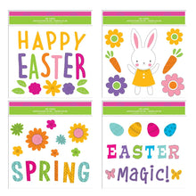 Load image into Gallery viewer, Easter Window Gel Clings - Pack of 4 Sheets of Easter Window Sticker Decorations with Happy Easter, Bunny, Eggs and More!