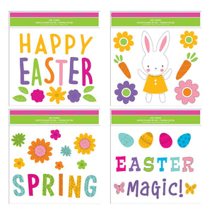 Easter Window Gel Clings - Pack of 4 Sheets of Easter Window Sticker Decorations with Happy Easter, Bunny, Eggs and More!