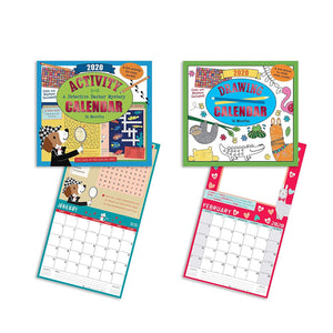 B-THERE Bundle of Two 16-Month Kids Activity and Drawing Calendars (2020) - Different Coloring Page or Activity for Each Month