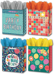 "B-THERE Bundle of 4 Large 10"" x 12"" x 5"" Gift Bags with Tags and Tissue for Men, Women for Birthday Party or Special Occasion"